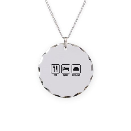 Eat Sleep Curling Necklace Circle Charm