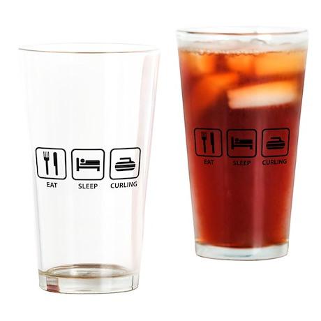 Eat Sleep Curling Drinking Glass