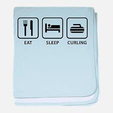 Eat Sleep Curling baby blanket