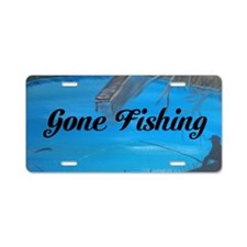 Gone Fishing Aluminum License Plate