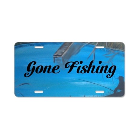 Gone fishing aluminum license plate by markmoore for Fishing license plate