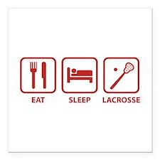 "Eat Sleep Lacrosse Square Car Magnet 3"" x 3"""