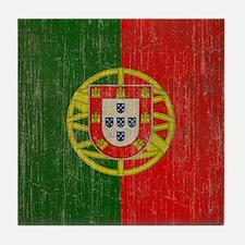 Vintage Portugal Flag Tile Coaster