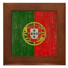 Vintage Portugal Flag Framed Tile