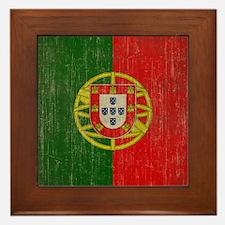 Vintage Portugal Flag Framed Tile