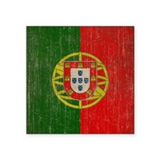 "Vintage Portugal Flag Square Sticker 3"" x 3"""