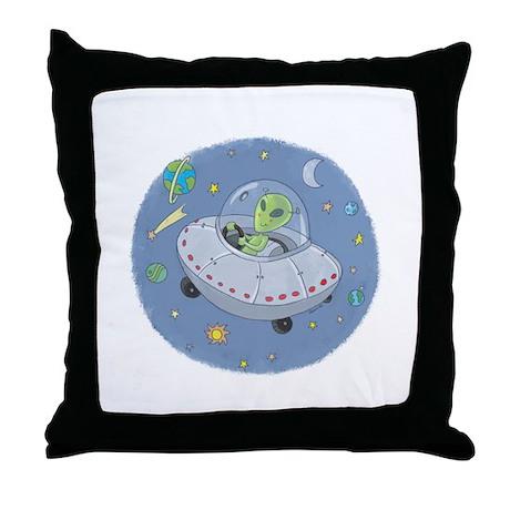 Little Green Alien Throw Pillow