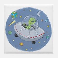 Little Green Alien Tile Coaster