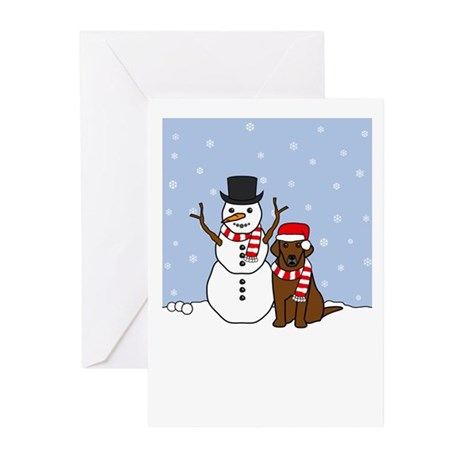 Winter Chocolate Lab Greeting Cards (Pk of 10)