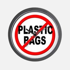 Anti / No Plastic Bags Wall Clock
