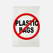 Anti / No Plastic Bags Rectangle Magnet
