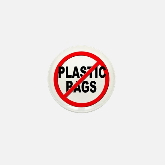 Anti / No Plastic Bags Mini Button