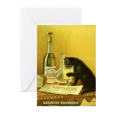 Absinthe Bourgeois Chat Noir Greeting Cards (Packa