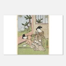 Children folding a paper crane - Koryusai Isoda -