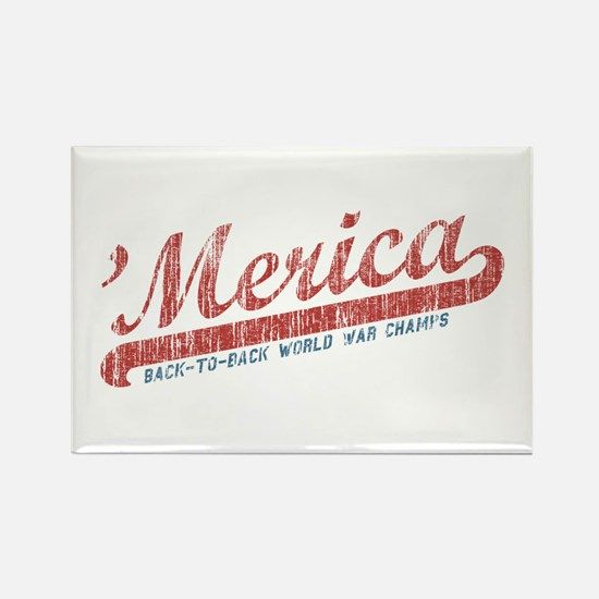 Vintage Team 'Merica 2 Rectangle Magnet