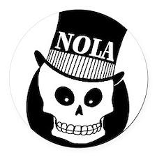 NOLA Skull Tatoo Round Car Magnet