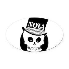 NOLA Skull Tatoo Oval Car Magnet