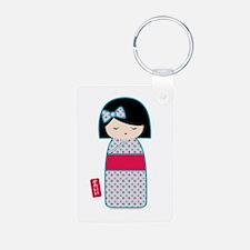 Kawaii Kokeshi Girl Aluminum Photo Keychain