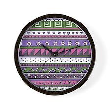 Pink and Purple Tribal Pattern Wall Clock