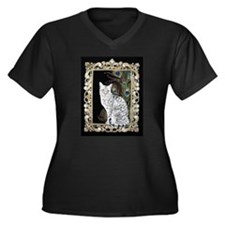 Silver Egyptian Mau Women's Plus Size V-Neck Dark