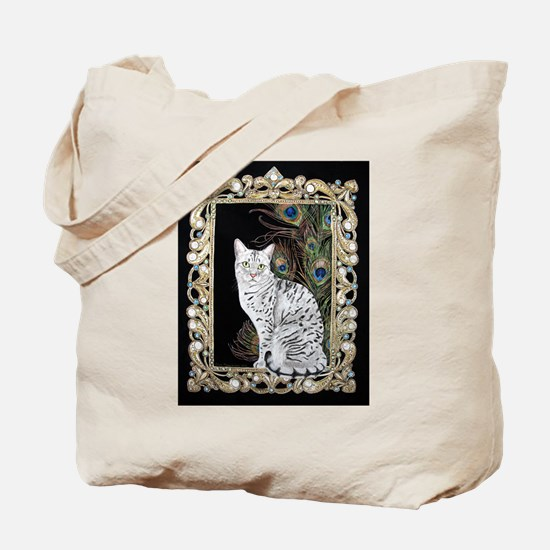 Silver Egyptian Mau Tote Bag