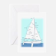 SAILBOAT DIAGRAM (technical design) Greeting Card