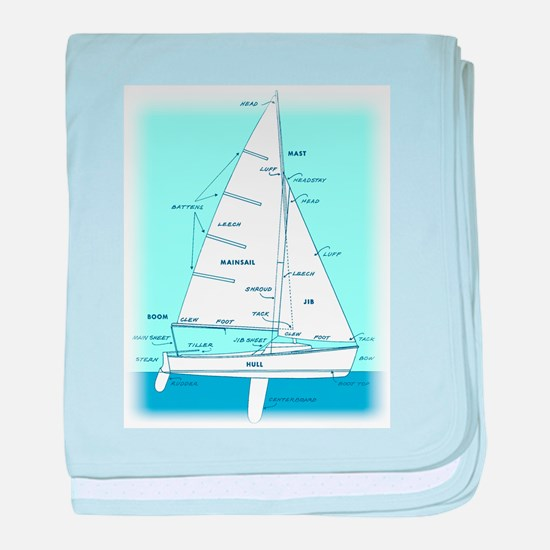 SAILBOAT DIAGRAM (technical design) baby blanket