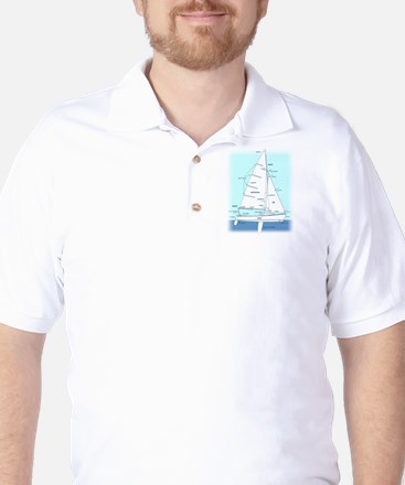 SAILBOAT DIAGRAM (technical design) Golf Shirt