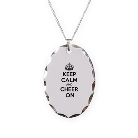 Keep calm and cheer on Necklace Oval Charm