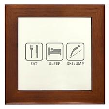 Eat Sleep Ski Jump Framed Tile