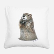 emerging groundhog Square Canvas Pillow