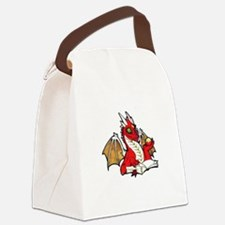 Red Bookdragon Canvas Lunch Bag