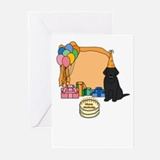 Black Lab Fetch a Happy Birthday Cards (Orange)
