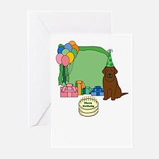 Chocolate Lab Fetch a Happy Birthday Cards (Green)