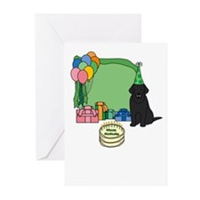 Black Lab Fetch a Happy Birthday Cards (Green)