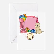 Yellow Lab Fetch a Happy Birthday Cards (Pink)