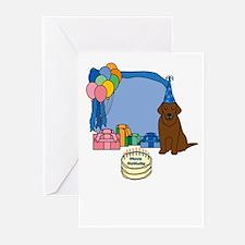 Chocolate Lab Fetch a Happy Birthday Cards (Blue)