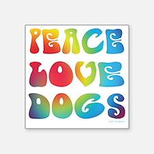 """Peace Love Dogs Tiedye Square Sticker 3"""" x 3&"""