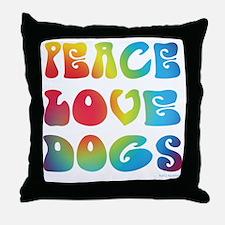 Peace Love Dogs Tiedye Throw Pillow