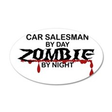 Car Salesman Zombie 35x21 Oval Wall Decal