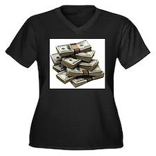 money Women's Plus Size V-Neck Dark T-Shirt