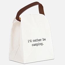 idratherbecampingblk.png Canvas Lunch Bag