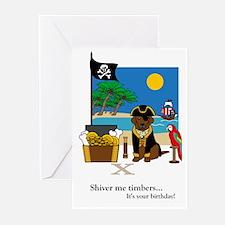 Treasured Moments Pirate Birthday Card (Choc. Lab)