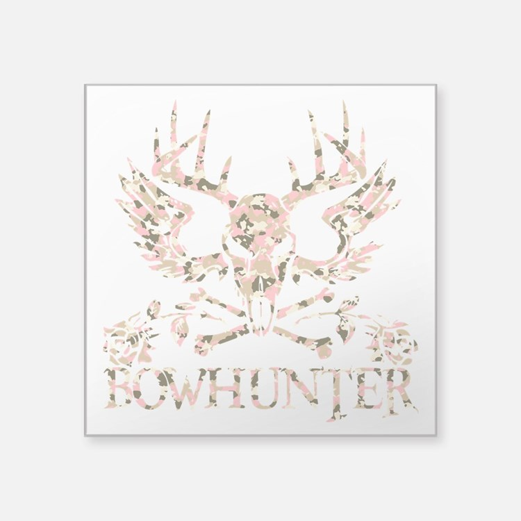 "GIRL BOWHUNTER Square Sticker 3"" x 3"""
