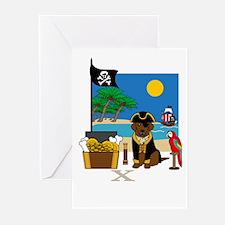 Ahoy, Matey Pirate Greeting Card (Chocolate Lab)