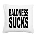 baldnesssucksblk.png Square Canvas Pillow