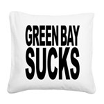 greenbaysucksblk.png Square Canvas Pillow