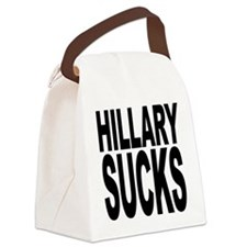 hillarysucksblk.png Canvas Lunch Bag