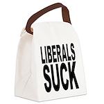 liberalssuckblk.png Canvas Lunch Bag