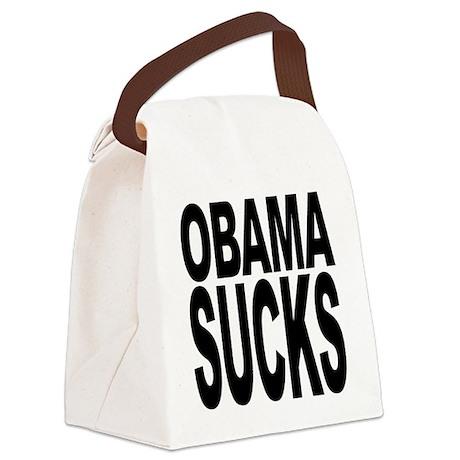 obamasucksblk.png Canvas Lunch Bag